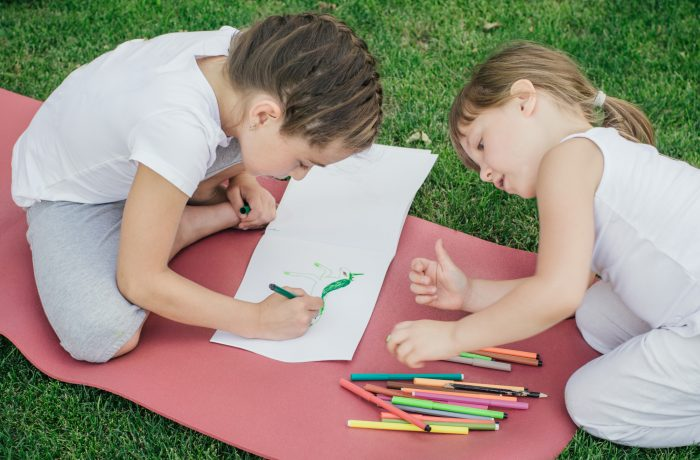 Two young girls wearing white and grey sitting on a red rug on the grass drawing a unicorn