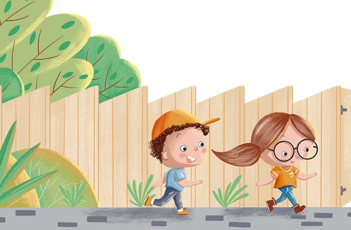 A cartoon image of Woodgate's young ecologist characters Eddie and Ellie - a boy and a girl running next to a brown fence with trees behind
